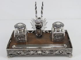 A superb 19th century Chinese Qing Dynasty silver and wood decorative desk standish bearing marks
