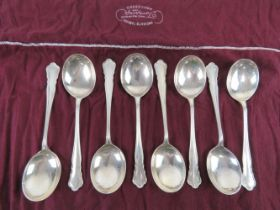 A set of eight HM silver soup spoons by William Hutton & Sons Ltd,