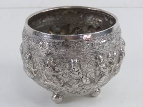 An antique Burmese white metal thabeik bowl (based on Burmese monks' begging or alms bowls) raised