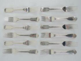 A set of twelve Victorian HM salad forks,