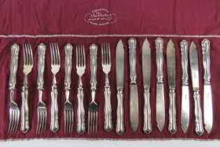 A set of HM silver fish knives and forks for eight settings by William Hutton & Sons Ltd,