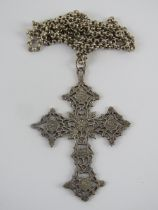 A large and impressive HM silver Gothic crucifix having pierced decoration and measuring 6cm wide,