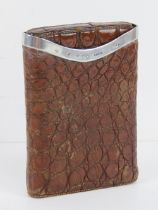 A finely made alligator skin and HM silver cigar case, hallmarked London 1902, 12.5 x 9cm.
