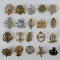 A quantity of assorted British regiment cap/helmet badges, approx 20 items inc; Bedfordshire,