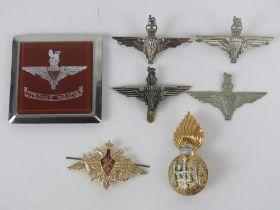 A quantity of assorted British Paratrooper badges inc cap badges. Seven items.