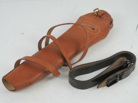 A reproduction WWI G98 leather breach cover and sling.