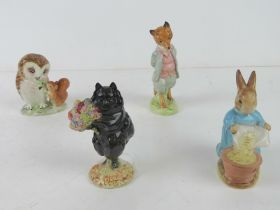 Beswick Beatrix Potter; Four figurines having gold back stamp 'Beswick England F.