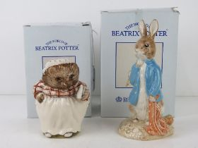 Royal Albert Beatrix Potter; Two large size figurines being 'Peter with Red Pocket Handkerchief',