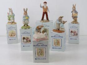 Royal Albert Beatrix Potter; six figurines in original boxes being 'Mr McGregor', 'Peter in Bed',