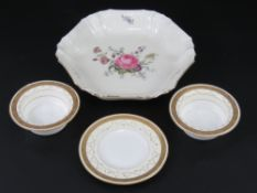 A Royal Copenhagen creamware bowl floral decoration throughout and part gilded,