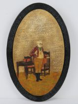 A Bretby pottery Mr Pitwick themed oval wall charger No3017, 40cm high.