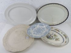 A quantity of assorted large serving plates or meat dishes inc blue and white Brownfield & Sons