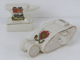 Two items of crested ware being a British tank by Willow Art and Gretna Green Blacksmith Anvil.