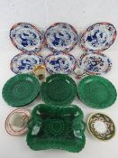 A set of five Spode New Stone Oriental influence plate together with a quantity of green Wedgwood