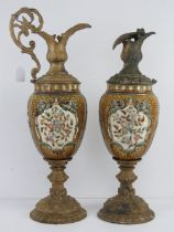 A pair of large 19th century ormolu and ceramic urns,