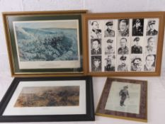 A quantity of various military framed pictures,