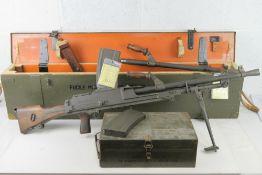 A deactivated Italian Breda Bren .30-06 Calibre Light Machine Gun.