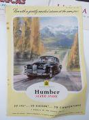 Six original 1950s motoring magazine car manufacturer adverts including Rover, Humber Super Snipe,