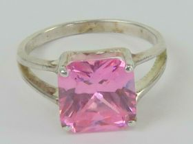 A silver and pink stone cocktail ring, t