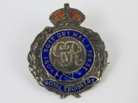 A silver and enamel Royal Engineers regi