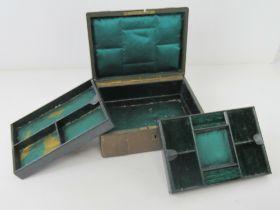 An antique jewellery box having two fitt