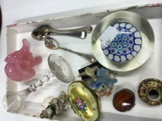 A ROYAL CROWN DERBY MINIATURE IMARI VASE, A GLASS ELEPHANT, A SMALL 17th C. GLASS, TWO SILVER TEA