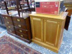A PAIR OF KENNEDY BESPOKE MAHOGANY FILE CABINETS OF CAMPAIGN STYLE, AND A STATIONARY CABINET.
