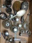 A COLLECTION OF SILVER TOPPED AND OTHER DRESSING TABLE JARS AND SCENT BOTTLES AND PART MANICURE SET,