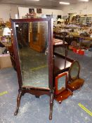 A ANTIQUE MAHOGANY FRAMED CHEVAL MIRROR AND TWO DRESSING TABLE MIRRORS.