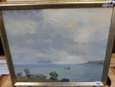 HUGH E. RIDGE (1899-1976) ARR. A COASTAL VIEW, OIL ON CANVAS, 39.5 X 49.5cms, TOGETHER WITH FOUR