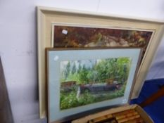 LENNY BROWN, CANAL BOATS, SIGNED WATERCOLOUR, 32 X 50cms. TOGETHER WITH A COLOUR PRINT OF A FLY