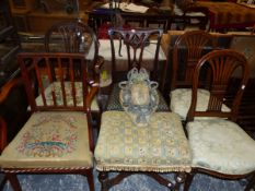 FIVE 19th C. DINING CHAIRS, A LARGE DRESSING STOOL, A LUGGAGE RACK AND A POLE SCREEN.