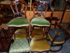 SIX 19th C. MAHOGANY DINING CHAIRS, TOGETHER WITH A SMALL DINING TABLE AND THREE OCCASIONAL TABLES.