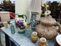 TWO LARGE MID CENTURY LAMPS, VARIOUS VASES, ETC.