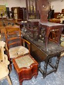 A VICTORIAN COMMODE, TWO HALL CHAIRS, A RUSH SEAT CHAIR, AND A DROP LEAF OAK TABLE.