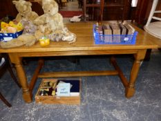 AN 18th C. STYLE OAK REFECTORY TABLE.