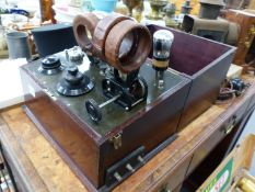 AN INTERESTING EARLY VALVE RECEIVER IN MAHOGANY CASE.