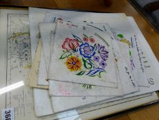 A QUANTITY OF ORIGINAL DESIGNS FOR POOL POTTERY, AND A MAP OF NOTTINGHAMSHIRE.