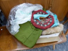A QUANTITY OF COSTUME ETC, TO INCLUDE A GREEN DRESS, BEADWORK CUSHION, SOIREE VINTAGE HEELS SIZE 6B