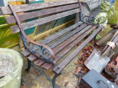 TWO GARDEN BENCHES WITH CAST ENDS.