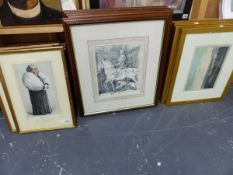 THREE VINTAGE VANITY FAIR PORTRAIT PRINTS TOGETHER WITH VARIOUS FRAMED PRINTS RELATING TO OXFORD AND