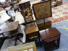A VICTORIAN MAHOGANY DROP LEAF WORK TABLE, A WALNUT SEWING TABLE, NEST OF TABLES, A POLE SCREEN, AND