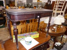 A 19th C. MAHOGANY FOLD OVER TEA TABLE AND A DEMI LUNE SIDE TABLE.
