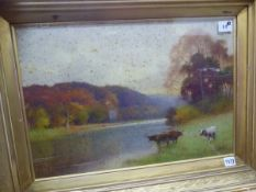 B.D. SIGMUND, (1857-1947). CATTLE WATERING, SIGNED WATERCOLOUR, 36X53cms, TOGETHER WITH A MOORLAND