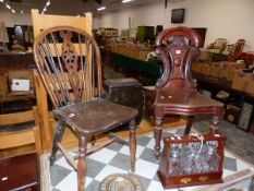 A VICTORIAN MAHOGANY WALL CHAIR, AND A FRUIT WOOD AND ELM WHEEL BACK CHAIR, TOGETHER WITH A