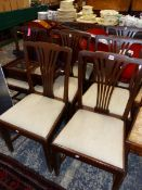 SET OF EIGHT ANTIQUE MAHOGANY DINING CHAIRS. TWO SIMILAR SIDE CHAIRS, AN ARM CHAIR AND TWO FURTHER