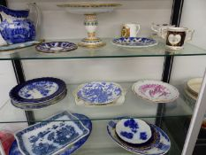 A GROUP OF 19th C. AND LATER DECORATIVE PLATES, PLATTERS, CROWN DERBY CUP ETC.
