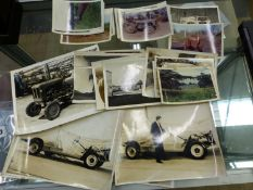 A COLLECTION OF VINTAGE BLACK AND WHITE PHOTOGRAPHS, TRACTORS AND OTHER VEHICLES.
