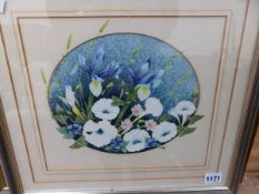 KEITH JOHNSON (20th C.) ARR. TWO OVAL FLORAL STILL LIFE PICTURES, SIGNED WATER COLOURS, 19.