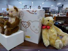 A STEIFF 1909 CLASSIC TEDDY BEAR, TOGETHER WITH A STEIFF CLASSIC TEDDY BEAR MOHAIR CAPPUCCINO,